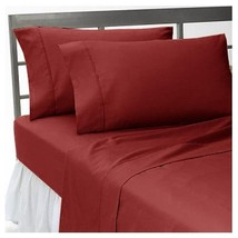 1000TC 100%EGYPTIAN COTTON  ALL BEDDING ITEMS UK SINGLE SIZE BURGUNDY SOLID - $18.05+