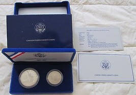 1986 UNITED STATES LIBERTY PROOF SILVER AND HALF-DOLLAR 2 COIN PROOF SET image 1