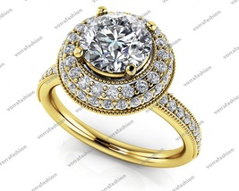 Solitaire With Accents Wedding Ring Round Cut White CZ Yellow Gold Fn 92... - £86.83 GBP