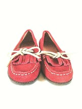 Lucky Brand Red Suede Like Loafers Slip On Flat Shoes Women's 7 M (SW19)pm2 - $25.00