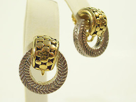 Gold n Silver Plate DOOR KNOCKER Clip Earrings Scored Embossed Vintage E... - $18.80