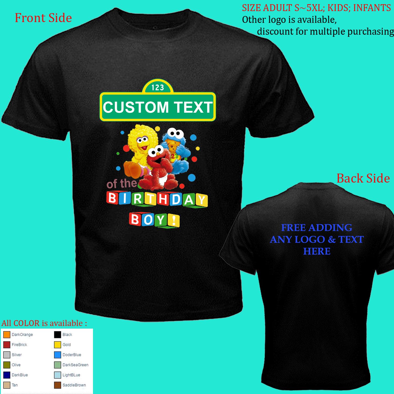 Custom Personalized Birthday Sesame Street Size Adult S M L-5XL Kids Infants for sale  USA