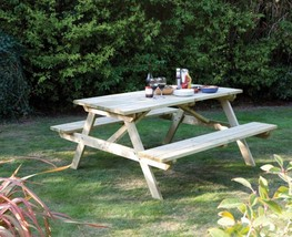 Wooden Garden Picnic Dining Table With Compact Bench Seat Stable Patio F... - $177.55
