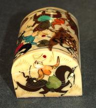 Antique Persian Small Trinket Snuff Pill Box Bovine Bone Hand Painted image 3