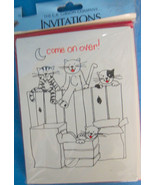Invitations Ally Cats COME ON OVER 10 Cards & Envelopes Any Occasion - $6.24