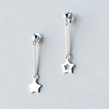 Sweet sparking stars 925 sterling silver dangle earrings - $27.65