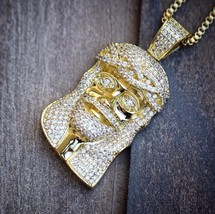 "Hip Hop Gold Jesus Piece With 24"" Box Chain Necklace Set Iced Out - $27.23"