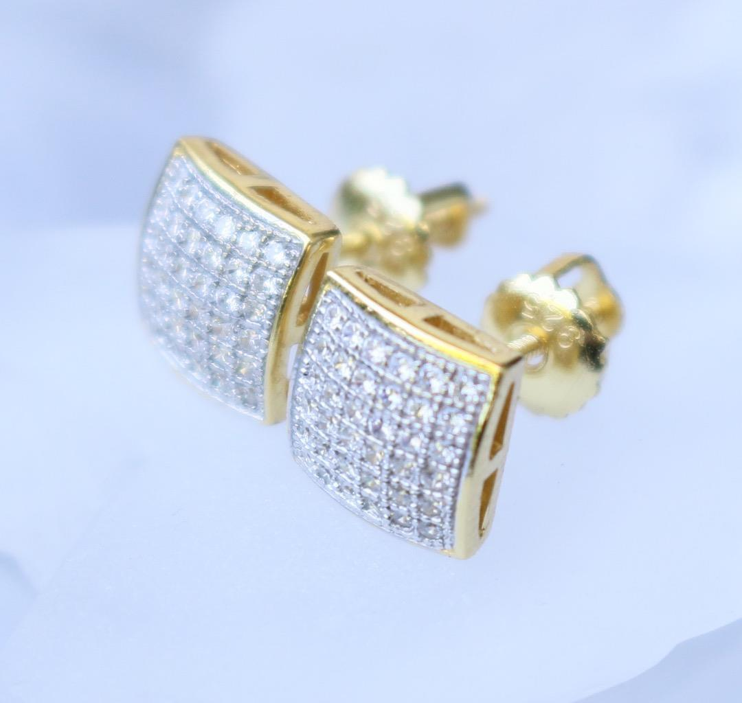 Hip Hop Earrings: Men's Hip Hop Earrings Gold And Rhodium Plated 925