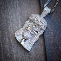 Mini Hip Hop Silver Jesus Piece Pendant Necklace Set - $29.69