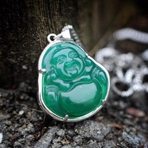 Hip Hop Green Jade Buddha Pendant and Box Chain Necklace - $21.44