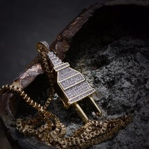 Hip Hop Gold Plug Necklace Iced Out With Lab Diamonds High Quality - $27.87