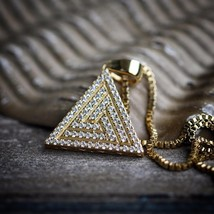 14k Gold Iced Out Hip Hop Egyptian Pyramid Pendant Necklace Set - $27.99
