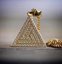 Mens Hip Hop Jewelry Gold Pyramid Necklace - $29.99