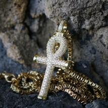 Men's Mini Hip Hop Gold Egyptian Ankh Cross Pendant Charm Necklace - $28.84