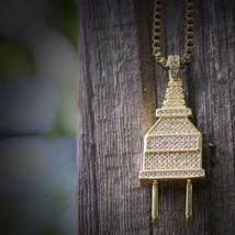 Hip Hop Plug Pendant 14k Gold Iced Out Necklace - £19.99 GBP