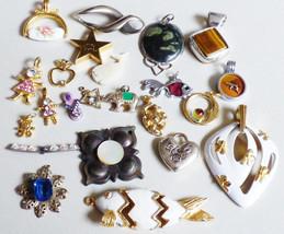 Lot of 23 mix pendants charms Rhinestons MOP Fish Heart Elephant Apple Fashion - $24.75