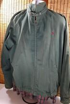 Polo Ralph Lauren Full Zip Jacket Green Cotton Coat Red Pony Liner Mens XL - $37.95