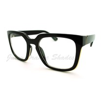 Chic Clear Lens Fashion Glasses Thick Square Frame Metal Accent - $9.95