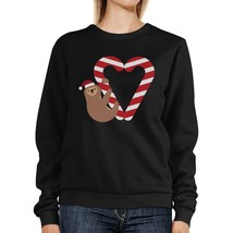 Candy Cane And Sloth Sweatshirt Winter Pullover Fleece Sweater - $20.99