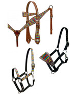 WESTERN HORSE LEATHER BRIDLE & BREAST COLLAR & HALTER RAINBOW CHEVRON DE... - $14.80+