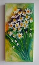 White Daisies Original Oil Painting Impasto Flo... - $75.00