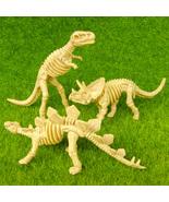 3 Dinosaur Skeleton T-Rex Stegosaurus Triceratops Miniature Jurassic Toy... - $15.99