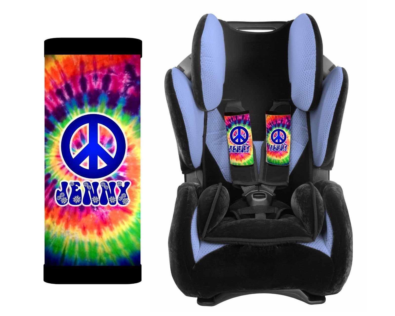 PERSONALIZED BABY TODDLER CAR SEAT STRAP COVERS TIE DYE HIPPIE PEACE SIGN