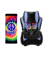 PERSONALIZED BABY TODDLER CAR SEAT STRAP COVERS TIE DYE HIPPIE PEACE SIGN - $14.68