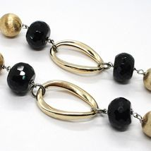 SILVER 925 NECKLACE, ONYX, OVALS WAVY, SPHERES SATIN, CHAIN ROLO' image 5