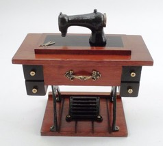 Happy Journey Cast Metal Wood Old Time Stand Sewing Machine Music Box Ye... - $26.68