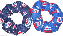 Hair Scrunchie Pepsi Cola Fabric Ponytail Holder Scrunchies by Sherry Lot of 2 - $12.95