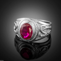 Sterling Silver Red Ruby CZ Celtic Men's Birthstone Ring - $49.99
