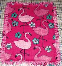 """Flamingos Fleece Blanket Baby Pet Lap Security Hand Tied Pink 30"""" x 24""""  - $36.58+"""