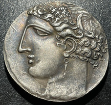 260 BC Carthage 5 Shekels Decadrachm Musuem Quality RESTRIKE Silver Plat... - $19.80