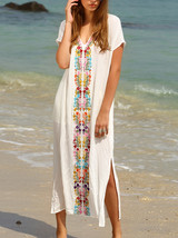 Women's White Floral  Printed V Neck Beach Boho Bohemian Maxi Long Dress - $55.00