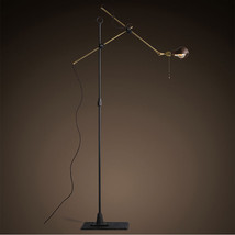 O. C. White Brass & Iron Swing Arm Floor Lamp Task Reading Light Lightin... - $381.99