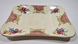 Royal Denby SOHO Pottery Vanity Perfume Dresser Tray Roses Gold Trim - $12.19