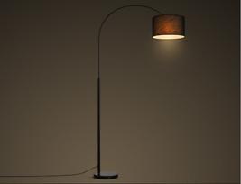 Modern Arc Floor Lamp E27 Reading Light Linen Shade Home Lighting Fixture  - $144.95
