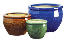 3 pc round ceramic jewel tone garden yard lawn patio deck flower pot pla... - £30.31 GBP
