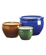 3 pc round ceramic jewel tone garden yard lawn patio deck flower pot pla... - $51.61 CAD