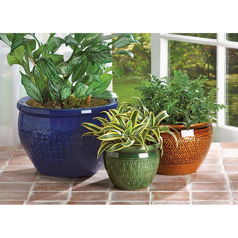 3 pc round ceramic jewel tone garden yard lawn patio deck flower pot planter set