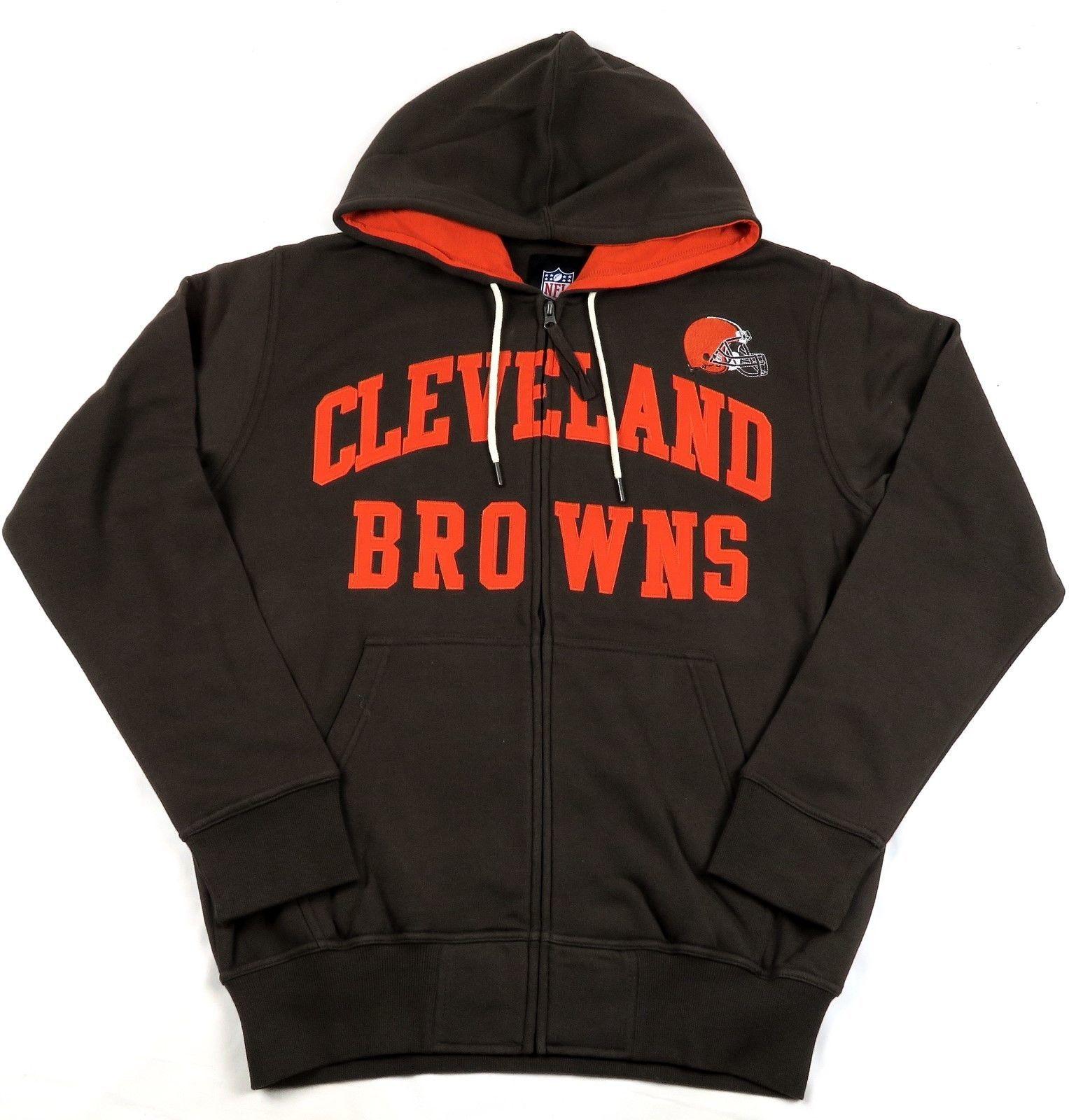 Cleveland Browns Hoodie Men's NFL Pass Attempt Full Zip Sweatshirt Hooded NEW