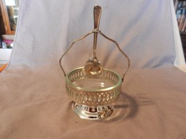 Vintage Silverplated Sugar Bowl Holder, Glass D... - $39.59