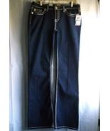 NWT Seven7 Jeans Sz 13 Women Juniors Stretch Boot Dark Blue Wide White S... - $39.98