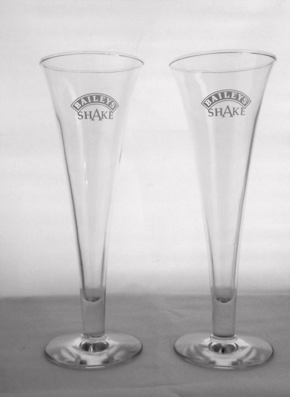 Pair Bailey's Irish Shake parfait barware glasses