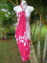 Hawaii Pareo Sarong Pink/White Plumeria Hawaiian Luau Beach Pool Cruise ... - $13.85