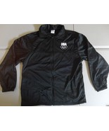 Black USA Olympic Committee Track & Field Warmup Polyester Jacket Size L... - $20.67