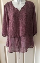 NWOT Faded Glory 3/4 Sleeve Semi Sheer Knit Top Drawstring Waist Size Sm... - $10.36