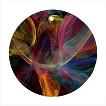 Colorful Fractals Round Ornament w/ Ribbon Hanger - $7.40