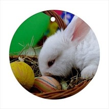 Cute Easter Bunny Round Ornament w/ Ribbon Hanger - $7.40